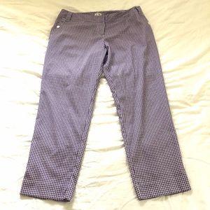 Adidas Golf Pants Size 12 Purple White Check